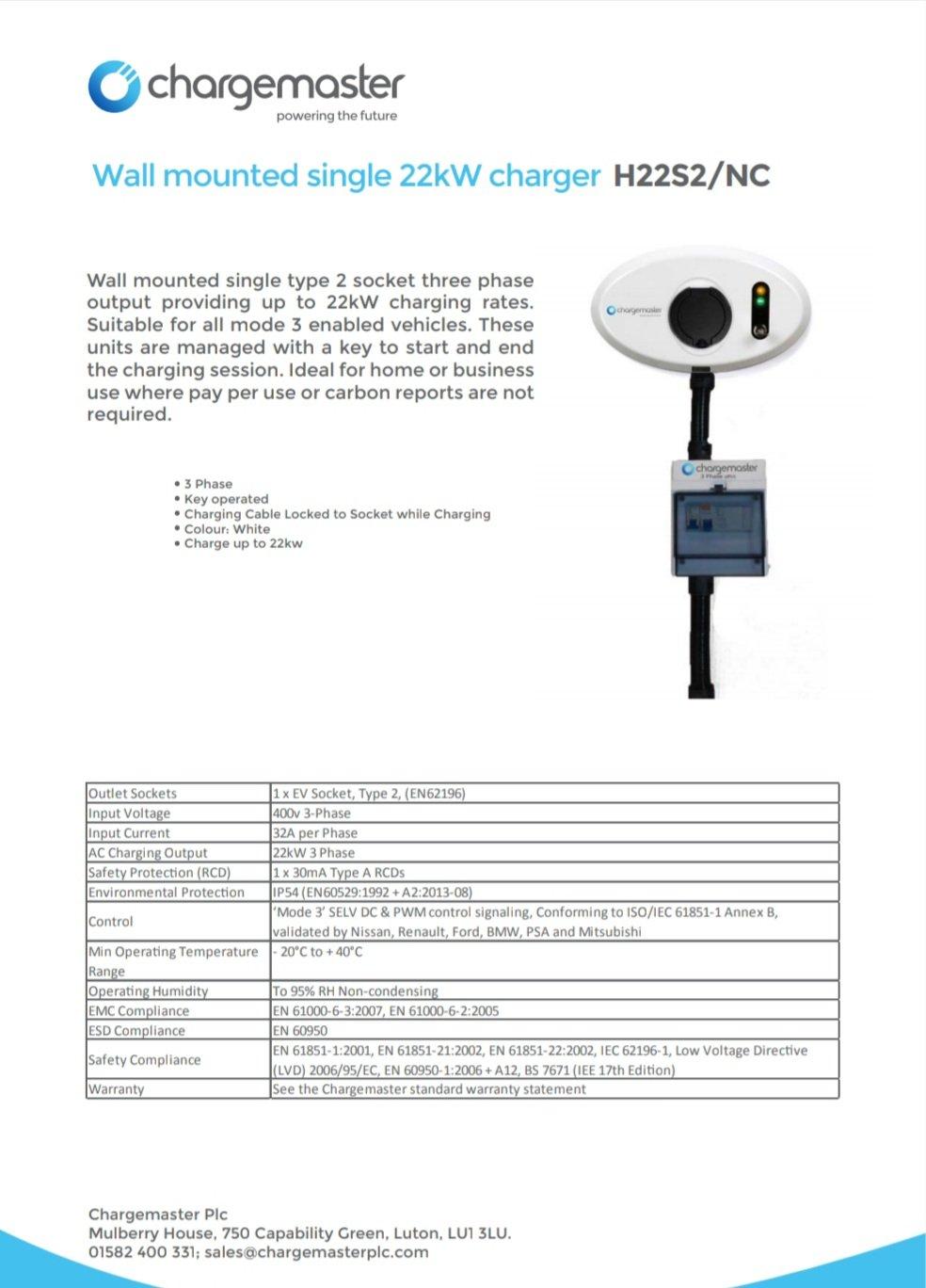 Chargemaster H22s2 22kw 3phase Wiring